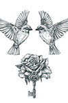 Birds, Rose and Key tattoo