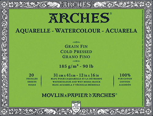 Carta per Acquerello ARCHES 185g Grana Fine